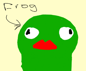 Green frog with red lips