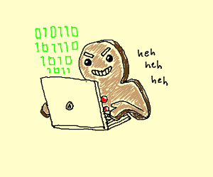 Evil gingerbread man using a computer to hack