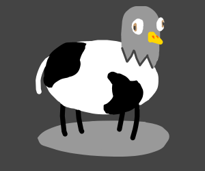 A cow with a pigeon head