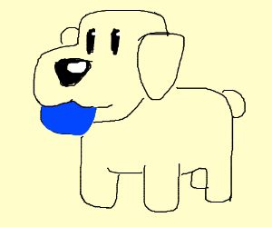 A dog with a blue ball