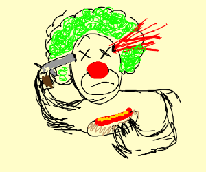 A clown with hotdogs for hands suicides