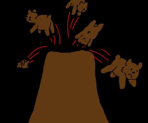 volcano exploding bears