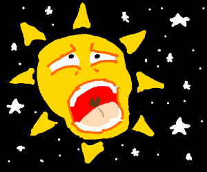 a godlike sun screaming in space