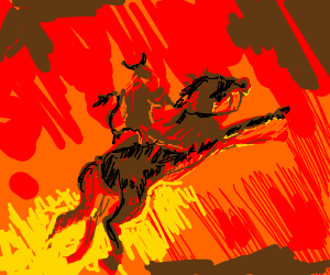 Demon riding a fire horse