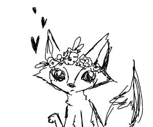 Fox wearing flowers on its head