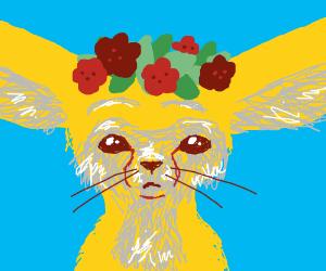 A fennec fox w/ a flower crown