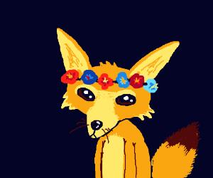 Fennec fox with a flower crown