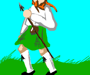 Bearded Scotsman with a spear