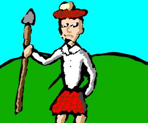 scottish man holding spear