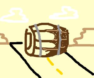a big barrel rolling on tah streets