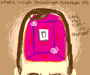what's inside Jacksfilms's forehead PIO