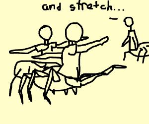 Spider leg people doing couple yoga