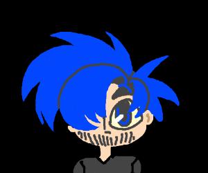 Boy with blue hair