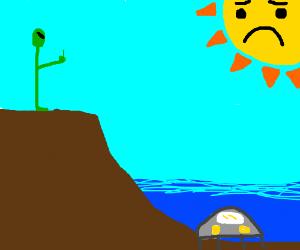 green alien dislikes the sun