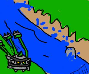 a ferrothorn (pokemon) flying downstream