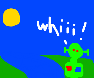 Green bot says whiii near a river