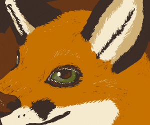 Orange fox with green eyes (That's rlly good!)