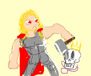 thor hits mardi gras skull with his hammer