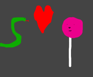 Green snake is in love with fuschia lollipop