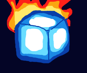 See through cube on fire