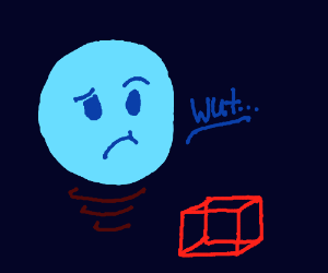 blue floating face is perplexed by 3d cube