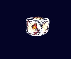 A transparent fire cube