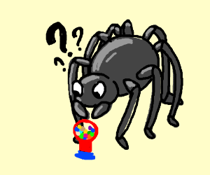 giant spider with a gumball machine