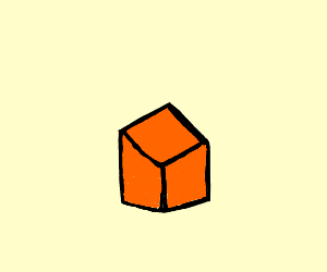 Sad orange cube