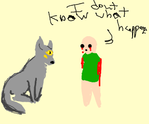 all knowing grey wolf and a green shirted boy