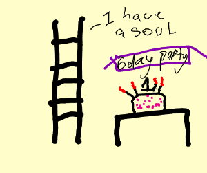 A ladder with soul in a happy birth day party