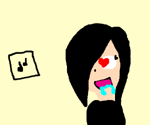 Emo girl drooling over music