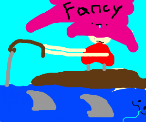 Girl with fancy hat goes fishing