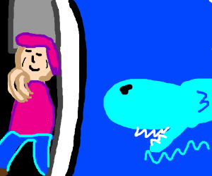 old man w/fancy pink hair next to the sharks