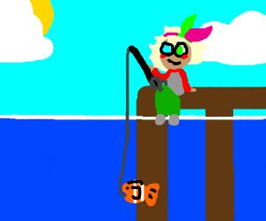 He's fishing