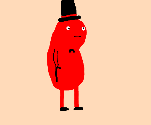 red bean with a top hat