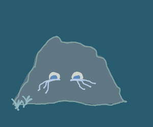 A crying stone with eyes on it