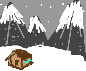 small cabin next to a snowy mountain