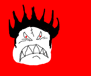 White-faced man with spiky black hair is angry
