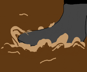 boot stepping on mud