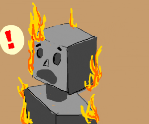 Robot on fire