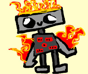 Robot that is burning