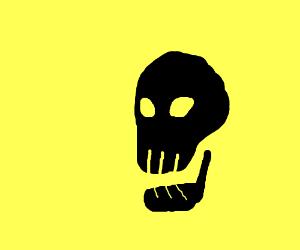 Black skull on yellow field