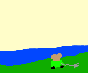 Small green toaster by a lake