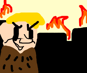 Barney Rubble sets a village on fire