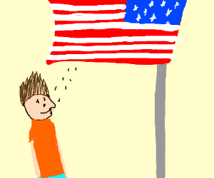 guy admireing the amarikin flag