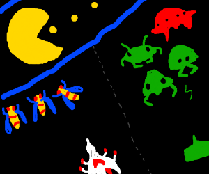 Pacman, Galaga and Space Invaders