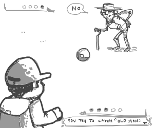 angry man doesn't want to be in poke-ball