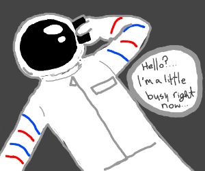 an astronaut using a cell phone