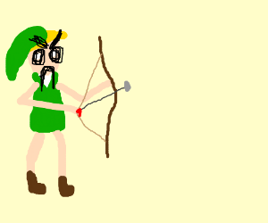 Angry link with bow & arrow