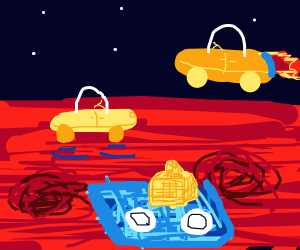 Picnic on Mars with flying cars